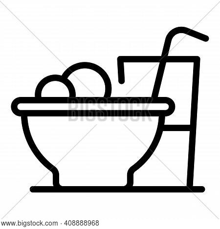 Lunch Icon. Outline Lunch Vector Icon For Web Design Isolated On White Background