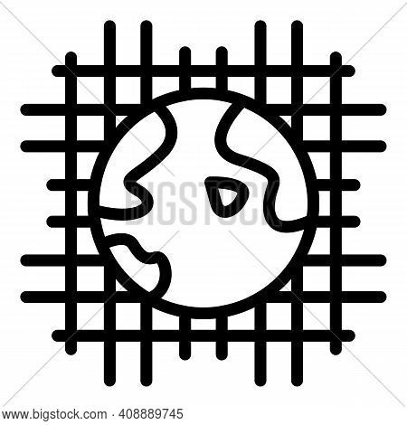 Global Net Interaction Icon. Outline Global Net Interaction Vector Icon For Web Design Isolated On W