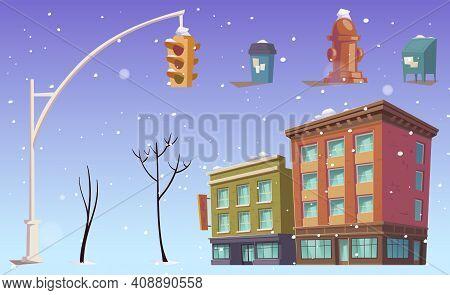 City Buildings And Stuff, Traffic Lights, Street Litter Bin, Hydrant And Bare Trees, Falling Snow. U