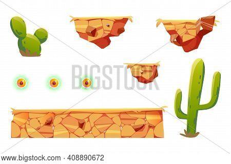 Cartoon Elements For Arcade Game Platform, 2d Ui Design Desert Landscape For Computer Or Mobile. Cac