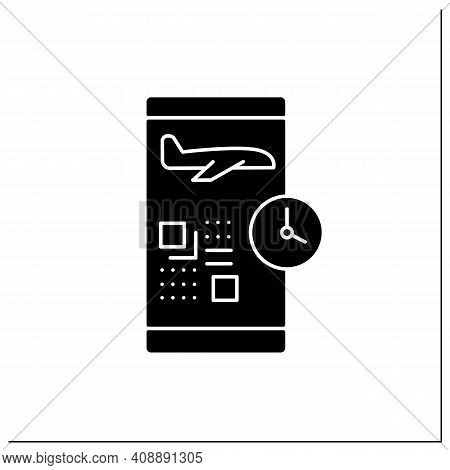 Digital Check-in Glyph Icon. Passengers Confirm Their Presence On A Flight Via The Internet And Typi