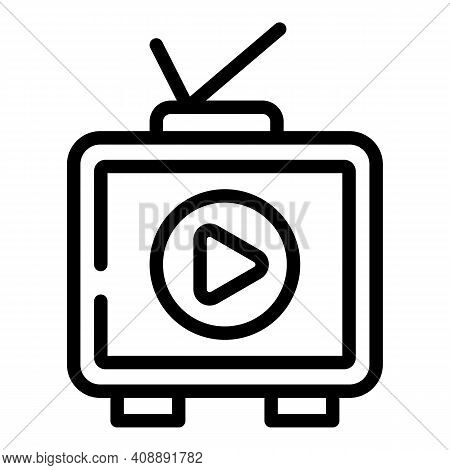 Interactive Tv Set Icon. Outline Interactive Tv Set Vector Icon For Web Design Isolated On White Bac