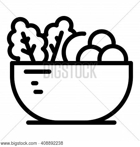 Dish Fruit Salad Icon. Outline Dish Fruit Salad Vector Icon For Web Design Isolated On White Backgro