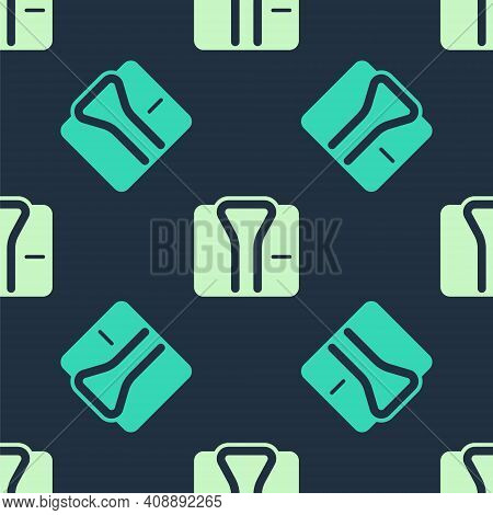 Green And Beige Bathrobe Icon Isolated Seamless Pattern On Blue Background. Vector