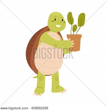 Cute And Funny Green Turtle Holding Potted Plant In Hands. Happy Smiling Tortoise Character Standing