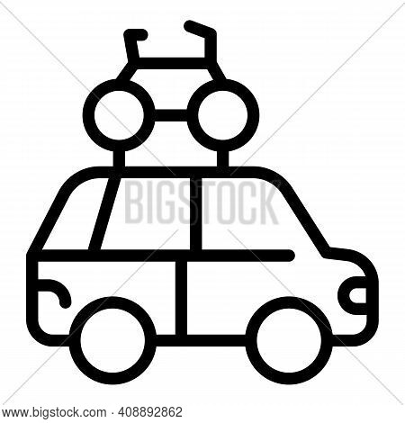 Car Family Roof Bike Icon. Outline Car Family Roof Bike Vector Icon For Web Design Isolated On White