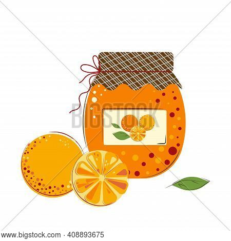 Jar Of Sunny Juicy Oranges Jam. Homemade Jam From Fresh Oranges.