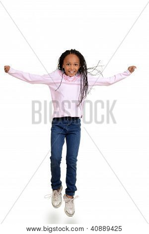 African child jumping in the air