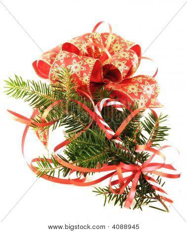 Giftbox And Xmas Tree Branch