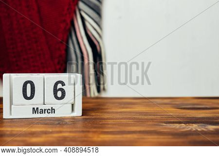 6 Sixth Day Of Spring Month Calendar March With Copy Space
