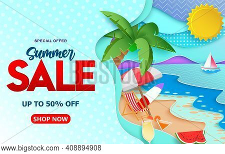 Summer Sale Vector Banner Template. Summer Sale Up To 50% Off Text With Paper Cut Beach Background A