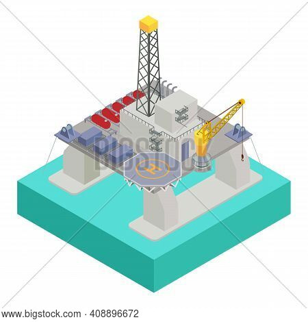 Oil Extraction Platform Icon. Isometric Of Oil Extraction Platform Vector Icon For Web Design Isolat