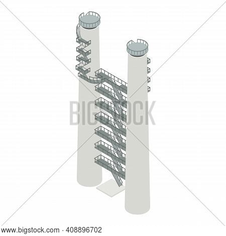Industrial Refinery Plant Icon. Isometric Of Industrial Refinery Plant Vector Icon For Web Design Is