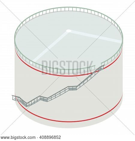 Big Petrol Tank Icon. Isometric Of Big Petrol Tank Vector Icon For Web Design Isolated On White Back