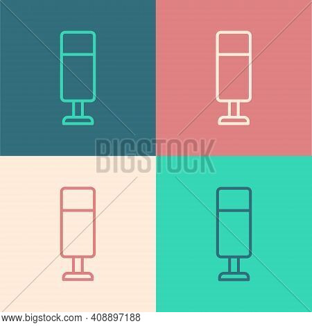 Pop Art Line Punching Bag Icon Isolated On Color Background. Vector
