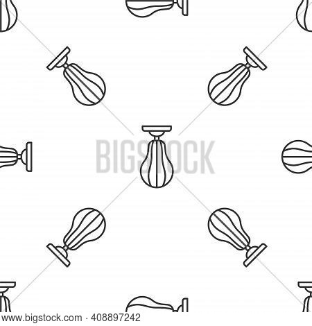 Grey Line Punching Bag Icon Isolated Seamless Pattern On White Background. Vector