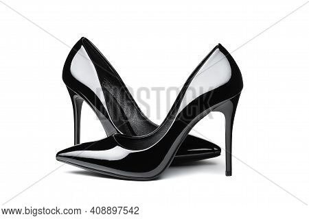 Pair Of Elegant Classic Patent Leather Women's High-heeled Shoes Isolated On White Background. Copy