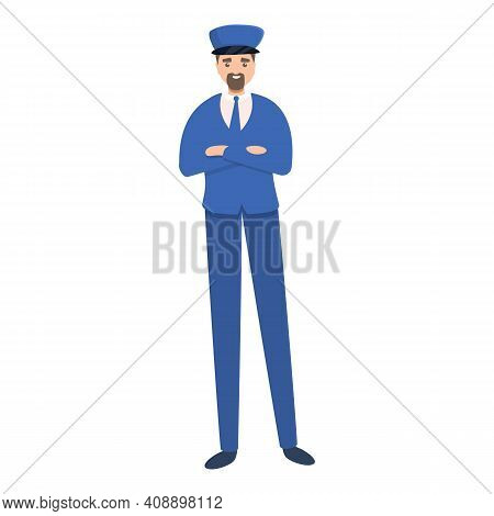 Attendant At Escalator Icon. Cartoon Of Attendant At Escalator Vector Icon For Web Design Isolated O