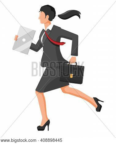 Businesswoman Is Fast Running With Waving Necktie And Briefcase. Business Woman Rushing Hurry To Get