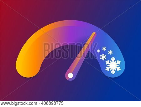 Cold Snap Concept - Temperature Measurment Scale With Lowering Indicator And Snowflakes. Vector Illu