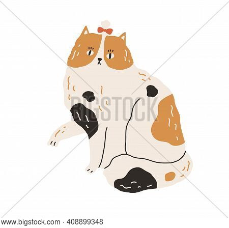 Cute And Funny Spotty Cat With Bow On Head And Raised Paw. Big Kitty With Black And Ginger Spots Iso