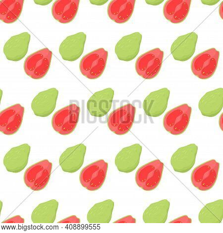 Diagonal Seamless Pattern With Guava Fruit Cut In Half Pink With Yellow Seeds And Whole Green. Natur