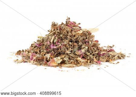 Herb and flower tea isolated on white background
