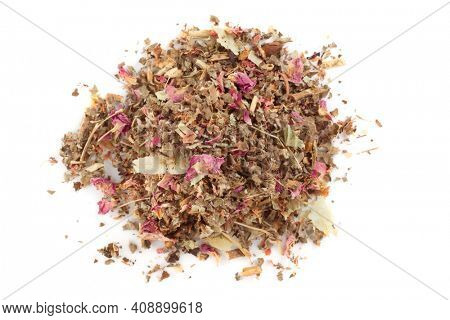 Herb and flower tea isolated on white background, shot from above