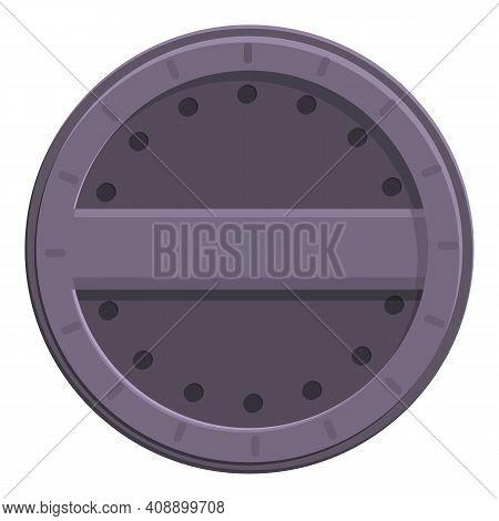 Asphalt Manhole Icon. Cartoon Of Asphalt Manhole Vector Icon For Web Design Isolated On White Backgr