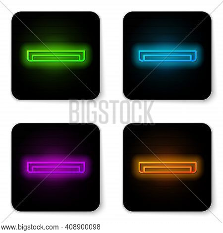 Glowing Neon Line Long Luminescence Fluorescent Energy Saving Lamp Icon Isolated On White Background