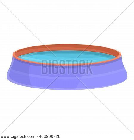 Inflatable Pool Icon. Cartoon Of Inflatable Pool Vector Icon For Web Design Isolated On White Backgr