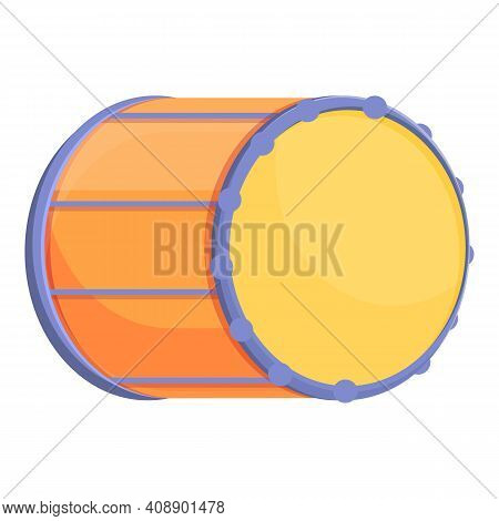 Drum Acoustic Icon. Cartoon Of Drum Acoustic Vector Icon For Web Design Isolated On White Background