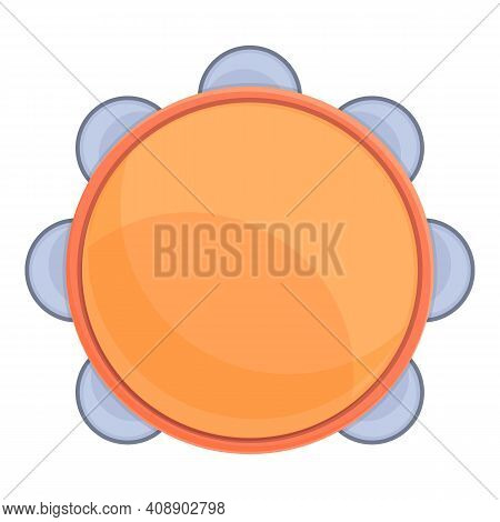 Tambourine Orchestra Icon. Cartoon Of Tambourine Orchestra Vector Icon For Web Design Isolated On Wh