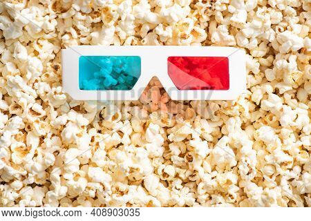 Top View Of 3d Glasses On Crunchy Popcorn, Cinema Concept.