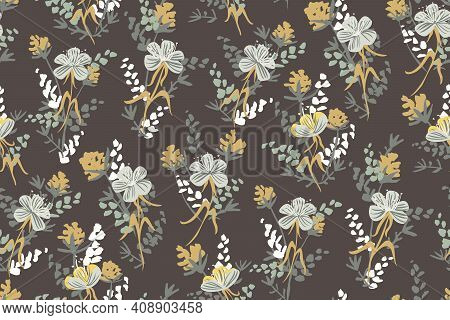 Dark Wild Posy - Floral Seamless Vector Pattern. Posy Of Wild Flowers In Fading Colors On A Dark Bac