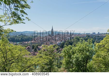 Bern, Switzerland - August 9, 2019 - View Of The Panorama Of Bern From The Rise Above The City