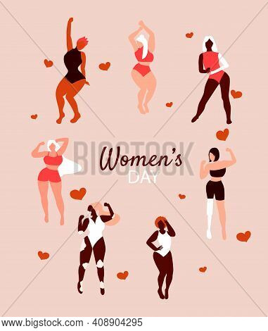 Happy Beautiful Girls Dancing. International Womens Day. 8 March. Different Skin Color And Body Size