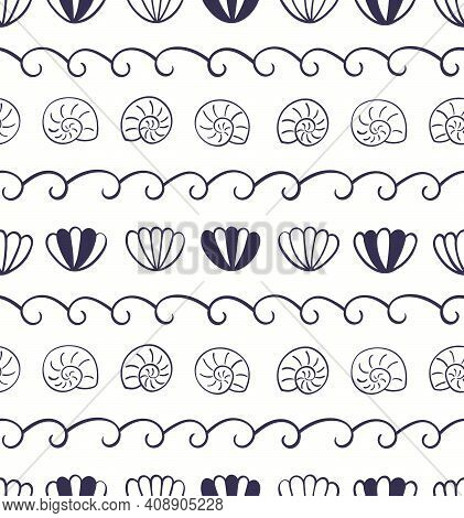 Blue Waves, Seashells Simple Nautical Seamless Pattern On White Background. Hand Drawn Scandinavian