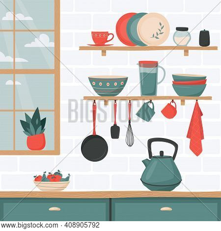 Kitchen Interior With Set Of Kitchen Accessory On Shelves. Vector Kitchen Tools. Kitchen Shelves In