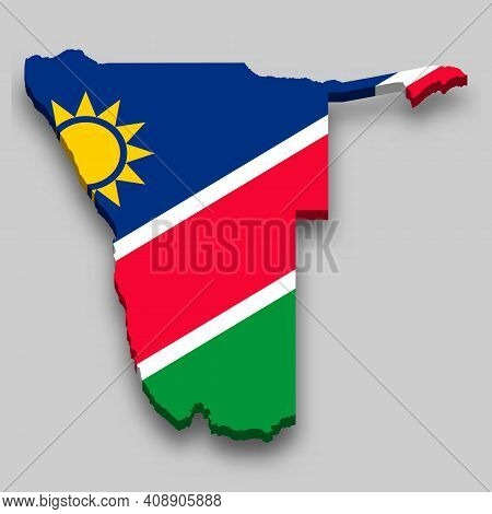3d Isometric Map Of Namibia With National Flag. Vector Illustration.
