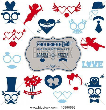 Valentine's Day Party set - photobooth props - glasses, hats, lips, mustaches, masks - in vector