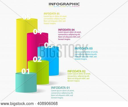 Information Graphics Template. 5 Steps, Strategies Or Business Processes. Step-by-step Business Grow