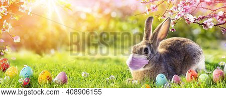 Cute Bunny With Medical Mask - Easter Pandemic Concept