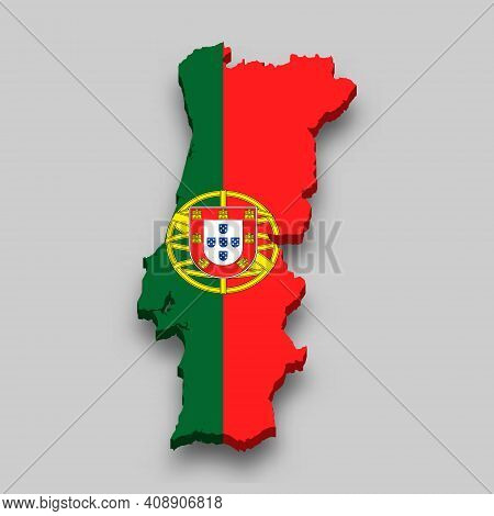 3d Isometric Map Of Portugal With National Flag. Vector Illustration.