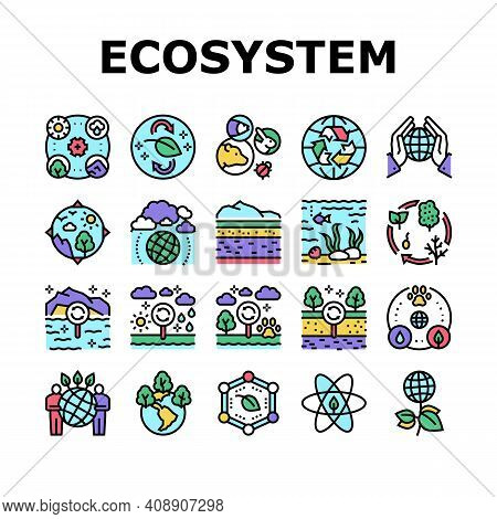 Ecosystem Environment Collection Icons Set Vector. Ecosystem And Ecology, Biodiversity And Life Cycl