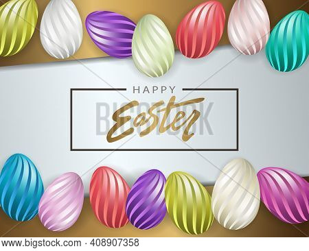 Easter Design With Brown Oblique Curtains, Wavy Pattern Eggs Set