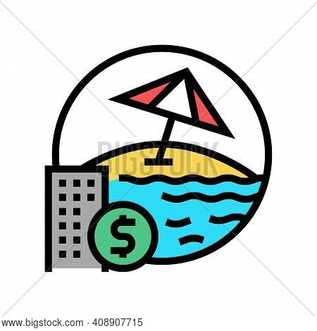 Payment For Vacation Voucher Color Icon Vector. Payment For Vacation Voucher Sign. Isolated Symbol I
