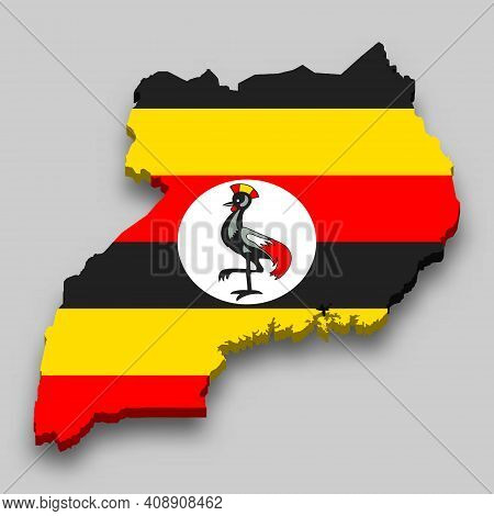 3d Isometric Map Of Uganda With National Flag. Vector Illustration.