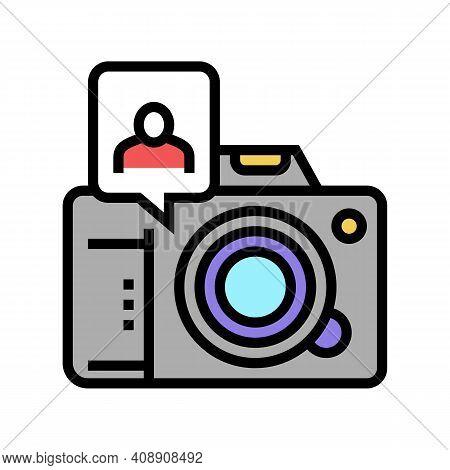 Photo Camera Make Card For Face Id Color Icon Vector. Photo Camera Make Card For Face Id Sign. Isola