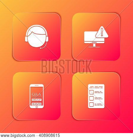 Set Man With A Headset, Monitor Exclamation Mark, Mobile Question And Exclamation And Create Account